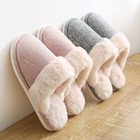 日式情侣居家居拖鞋女冬季室内厚底防滑保暖棉拖鞋家用毛毛拖鞋男
