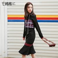 假两件连衣裙女长袖2018秋冬季装新款韩版打底荷叶边高腰中长裙子