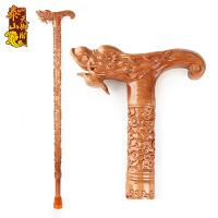 桃木拐杖老人实木手杖木质龙头拐棍助行器防滑垫 送父母长辈老年人生日礼物实用礼品 龙头
