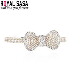 皇家莎莎RoyalSaSa韩版时尚马尾夹弹簧夹横夹发夹贝珠人造水晶发夹发饰-小姿舞蝶