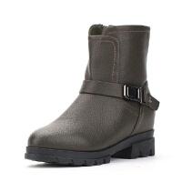 冬季时尚靴子系带式短筒圆头中跟女靴子164025524