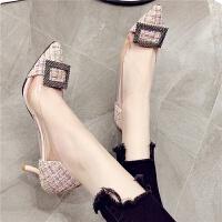 水晶高跟鞋女单鞋透明方扣宴会性感情趣sm公主女式6厘米尖头细跟
