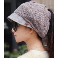 韩版潮流针织毛线帽 女帽扎马尾帽护耳 时尚帽盆帽渔夫帽