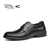 骆驼动感商务休闲皮鞋男系带圆头单鞋真皮男士皮鞋