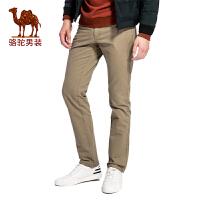 骆驼男装 春秋款直筒中腰纯棉商务休闲裤 男士纯色长裤子