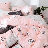 全棉粉色女生四件套 波点公主风女孩纯棉儿童被套学生床上用品