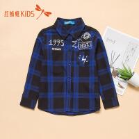 红蜻蜓童装新款冬季保暖纽扣印花图案长袖儿童男童格子衬衫