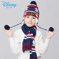 迪士尼帽子男童女童秋冬宝宝围巾儿童套装