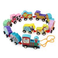 小火车木质儿童玩具拉线玩具车交通动物农场动物数字火车玩具套装