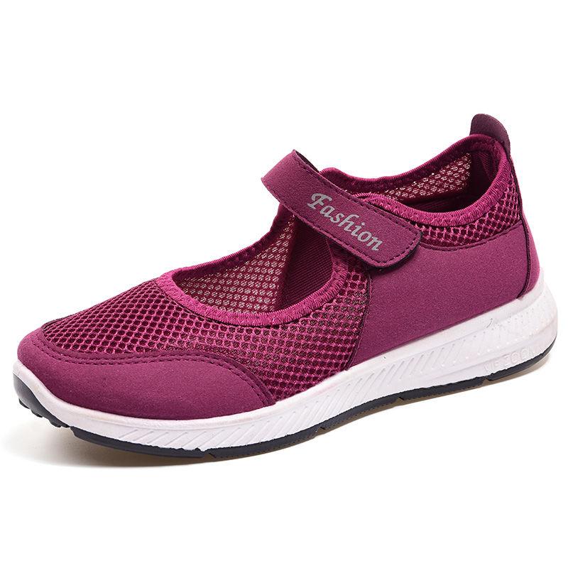 夏季中老年女凉鞋老北京布鞋女网鞋软底透气妈妈鞋休闲健步鞋