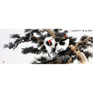 冯云龙《松鹤延年》1.8米 著名画家
