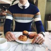 秋季英伦风休闲条纹打底圆领毛衣韩版绅士气质型男修身百搭针织衫