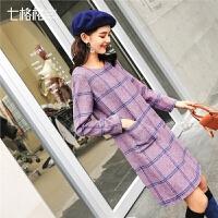 七格格格子连衣裙女新款冬圆领宽松仿呢料长袖紫色一步短裙子