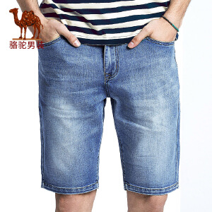 骆驼男装 夏季新款时尚休闲男牛仔短裤水洗直筒中腰男裤子