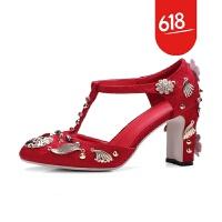 春夏新品民族风复古女鞋绸缎面花朵水钻铆钉秀禾鞋粗高跟凉鞋婚鞋红色GX01
