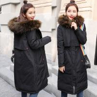 冬季加厚棉袄棉衣女2018冬装新款中长款外套羽绒过膝韩版女装 黑色 M