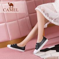 Camel/骆驼女鞋 2018春季新品 时尚休闲黑白织带套脚舒适小白鞋