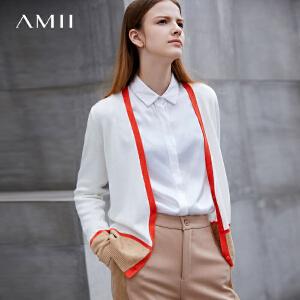 Amii极简欧货潮原宿V领毛针织衫女2018秋装新款开衫撞色长袖外套