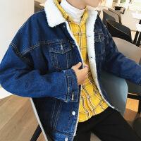 冬季牛仔外套加绒男加厚棉衣羊羔绒韩版潮流棉袄短款2018新款