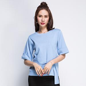 韩版宽松针织衫纯色全织时代春秋圆领五分袖腰部穿孔系带上衣套头