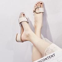 拖鞋女夏外穿2019新款韩版时尚百搭透明一字拖中跟粗跟网红凉拖女夏季百搭鞋