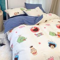 芝麻街网红款四件套棉纯棉儿童卡通床单被套宿舍床上三件套4 四件套-2.0米床:被套220*240cm 【床