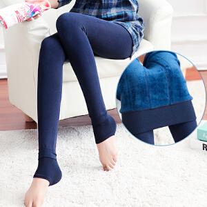 货到付款 Yinbeler珍珠绒一体裤外穿九分踩脚打底裤女秋冬季款大码加厚加绒长裤保暖裤袜
