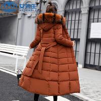 【拒绝套路,底价包邮】羽绒棉服加厚外套女冬修身长款过膝大毛领棉袄韩版棉衣女