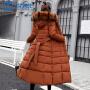 【限时抢购】羽绒棉服加厚外套女冬修身长款过膝大毛领棉袄韩版棉衣女