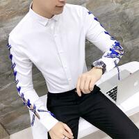 发型师个性镂空长袖衬衫男韩版帅气潮流衬衣青年夜店男装衬衫秋季