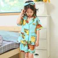 女童睡衣夏季短袖菠萝儿童全棉亲子2018新款中大童两件套家居服潮
