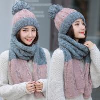 帽子女冬天韩版加厚保暖可爱百搭学生秋冬季长款针织围巾毛线帽女