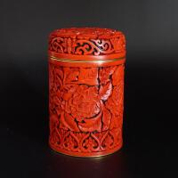 铜胎鎏金手工雕漆牡丹纹茶筒