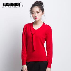 2018秋冬韩版女装胸前胸口绑带上衣长袖针织衫女套头 v领纯色打底