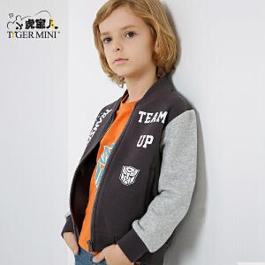小虎宝儿童装男童外套儿童夹克上衣中大童2018春款新品变形金刚