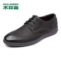 木林森男鞋休闲鞋布洛克雕花皮鞋英伦男士厚底复古板鞋子77053308