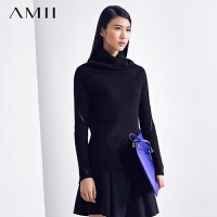 AMII[极简主义]春冬新品百搭修身镂空拼接堆堆领高领毛衣女11470619