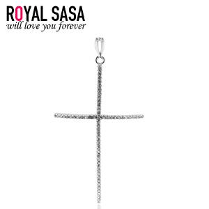 皇家莎莎925银饰品十字架吊坠 女款人造水晶项坠情侣生日礼物* 05SP052