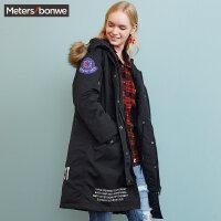 美特斯邦威棉服女士秋冬装中长款派克大衣棉袄棉衣外套学生bf风