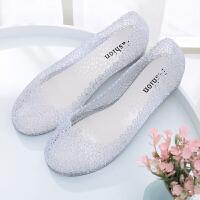 夏新女凉鞋水晶塑料果冻镂空平底鸟巢沙滩单鞋洞洞鞋外穿雨鞋