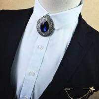 金属镶钻领带款韩版男士领结新郎结婚礼服领花 胸针2018新品 06款-蓝钻 送针链