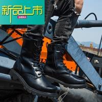 新品上市男种兵作战靴牛皮钢头钢底保暖马丁靴子男士冬季潮流真皮靴