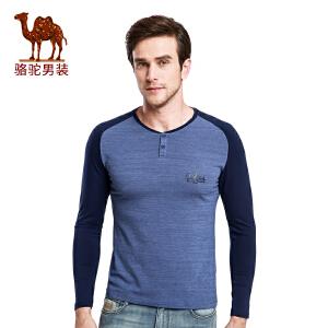骆驼男装 新款时尚门筒领印花青年商务休闲长袖T恤衫男士