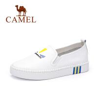 camel骆驼女鞋  春季新款女单鞋小白鞋休闲鞋 平底印花潮乐福鞋