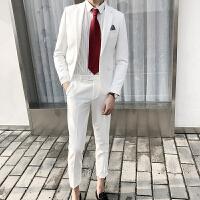 男士白色小西装男套装修身韩版西服青年正装新郎结婚礼服潮 白色