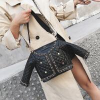 个性创意菱格衣服包包2018秋季上新款款韩版网红链条单肩斜跨女