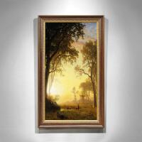 欧式装饰画玄关过道风景油画手绘竖版挂画定制森林之光客厅壁画 140*220 单幅
