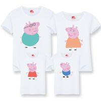 亲子装夏装一家三口四春2018新款佩奇母女全家装小猪佩琪短袖T恤