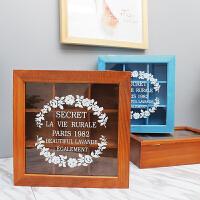 复古木质桌面收纳首饰储物盒带翻盖9格玻璃盖化妆品收纳木盒