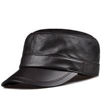 男女士秋冬平顶军帽潮男帽真皮帽子男休闲帽鹿皮帽鸭舌帽